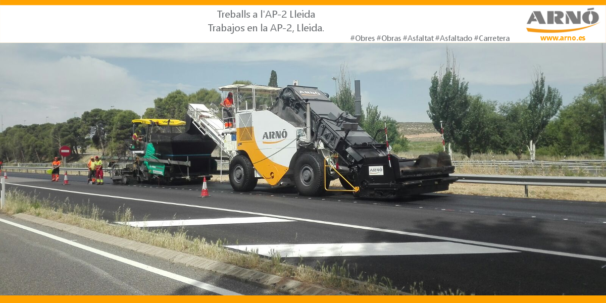 Trabajos de rehabilitación de asfalto en la AP2-Arnó