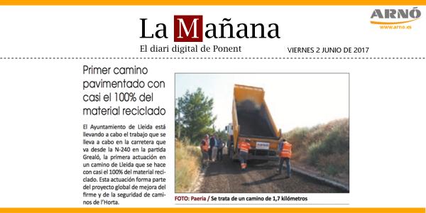 20170602 LAMANYANA-Asfalto reciclado camins de lHorta-Lleida-Arno