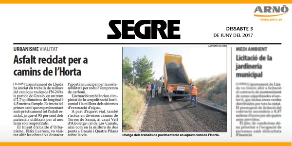 20170603 SEGRE-Asfalt reciclat camins de lHorta-Lleida-Arno