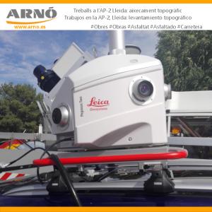 Cámara Leica sobre coche para realizar levantamientos topográficos utilizada por Arnó en las obras de la AP2