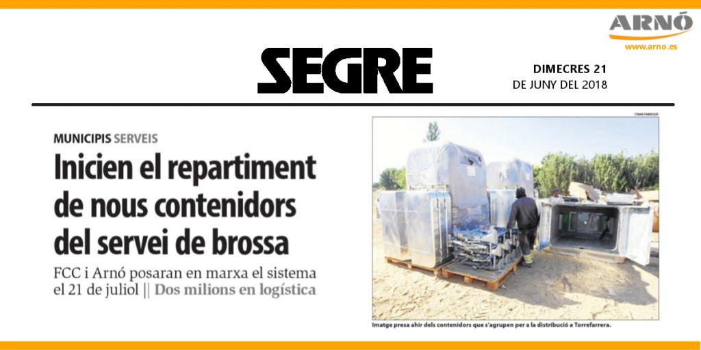 Noticia Segre: Inicien el repartiment de nous contenidors del servei de brossa. Arnó