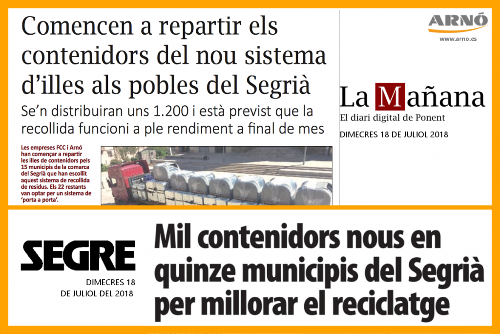 Noticies diari Segre i La Manyana: Comencen a repartir els contenidors del nou sistema per illes als pobles del Segrià. Mil contneidors nous als quinze municipis del Segrià per millorar el reciclatge. Arnó