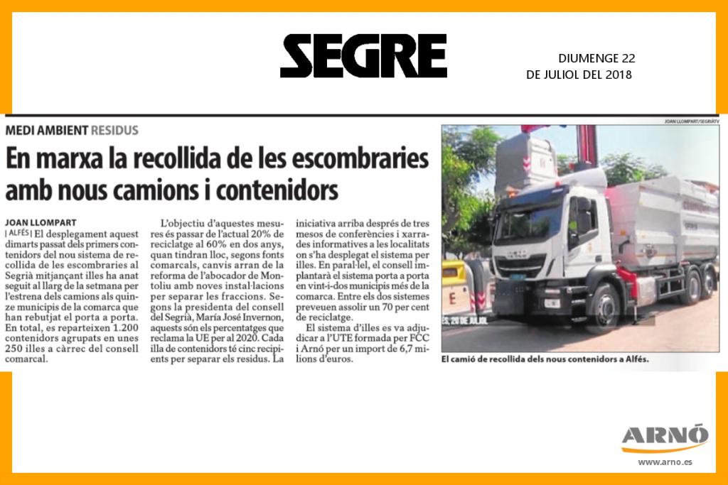 Noticia Segre: En marxa la recollida de les escombraries amb nous camions i contenidors. Arnó