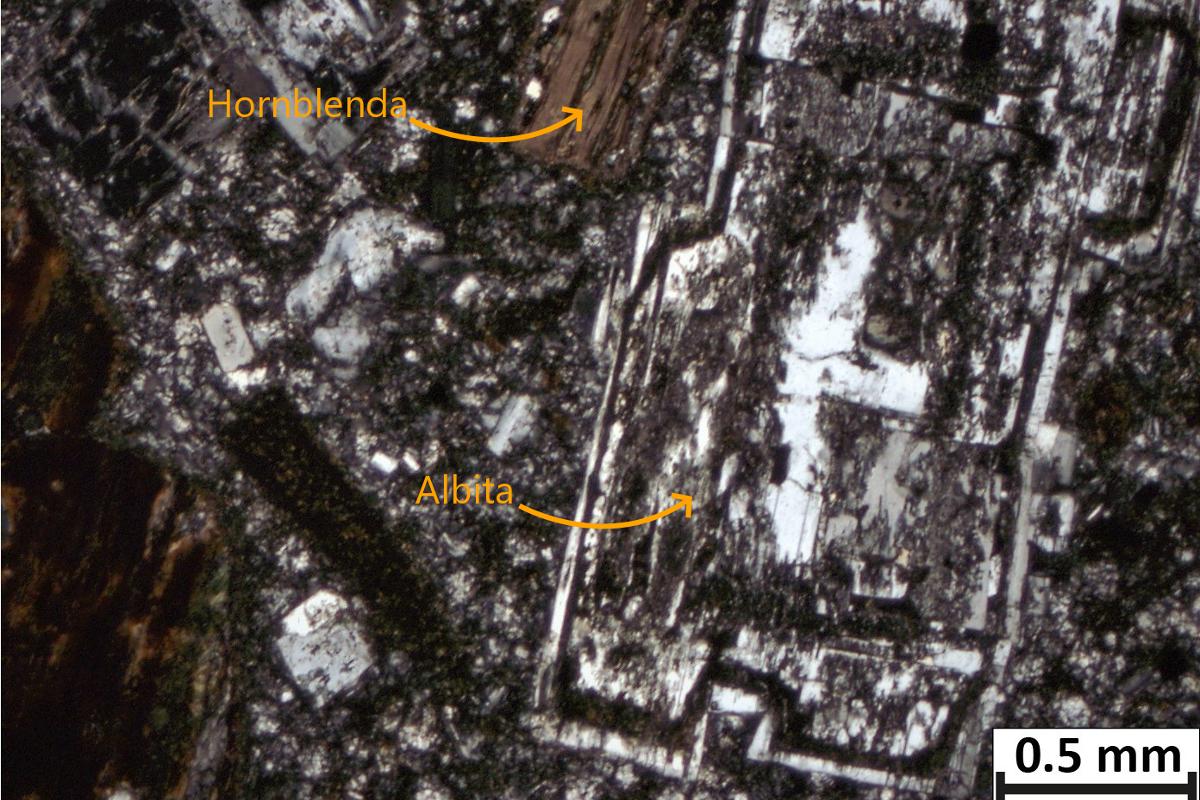 Composición de la andesita de Benito Arnó como una roca volcánica hipocristalina con textura porfídica, de grano medio, panidiomorfa compuesta por albita 50,7%, hornblenda 24,1%, montmorillonita 6,4% y cuarzo 18,8%.
