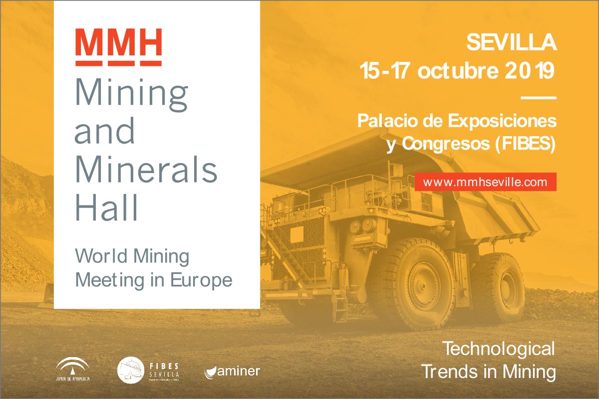Cartel del Mining and Minerals Hall, Sevilla, 15 al 17 de octubre de 2019