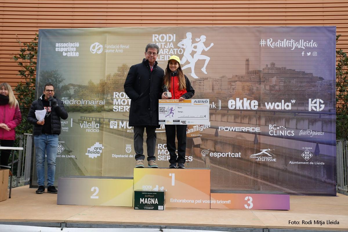 Lliurament premi Rècord Mitja Marató Lleida 2019-Miriam Ortiz- Arno