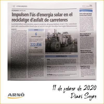 20200214 Diari Segre Projecte RDi energia solar per reciclatge asfalt de carreteres-Arno