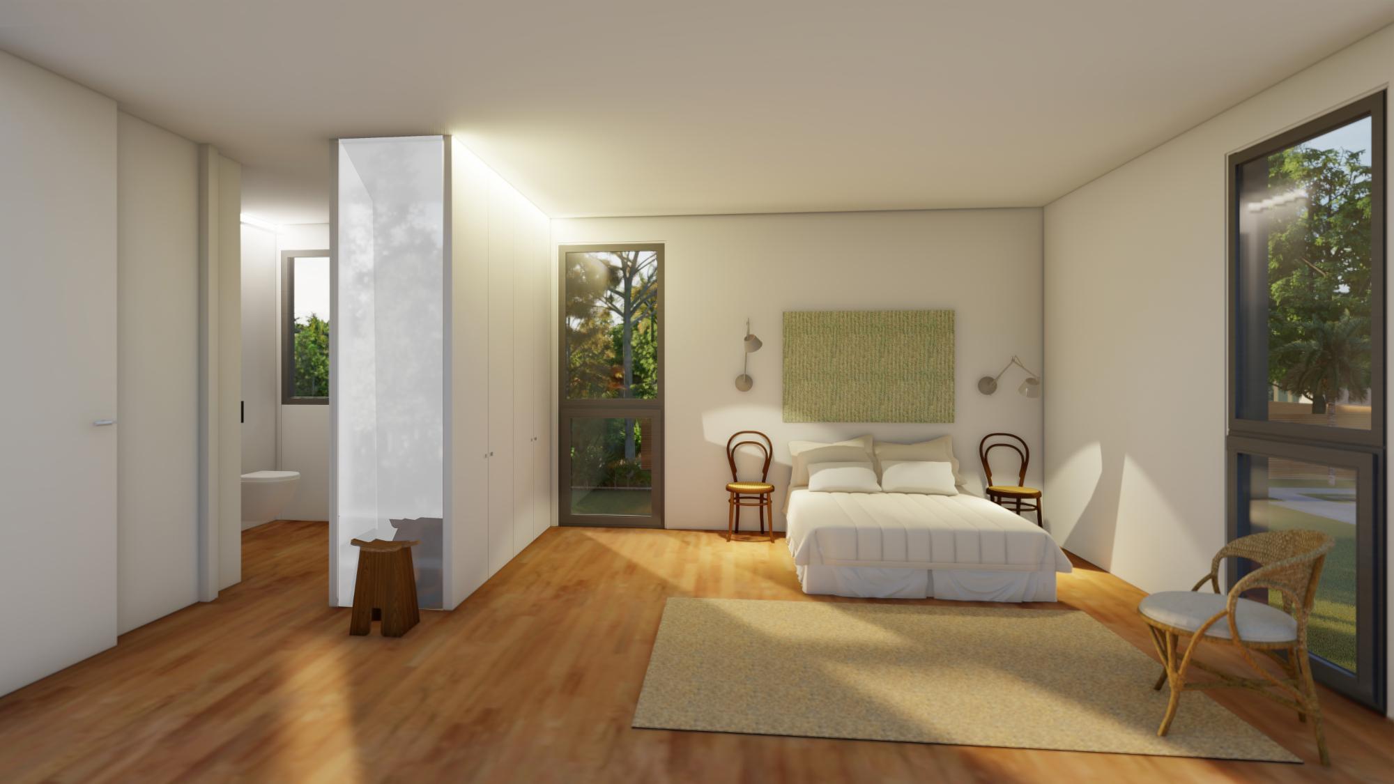 Dormitorio principal con baño en la planta primera de la vivienda. Vivendes Baldomer Gili Roig, Lleida