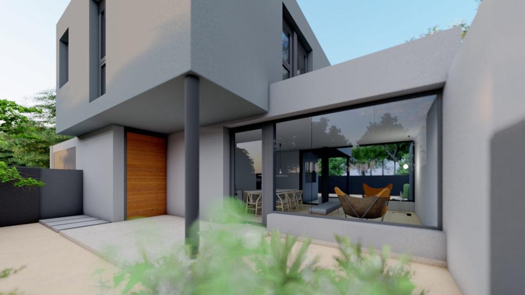 Entrada y terraza delantera de las futuras viviendas unifamiliares de la calle Baldomer Gili Roig de Lleida