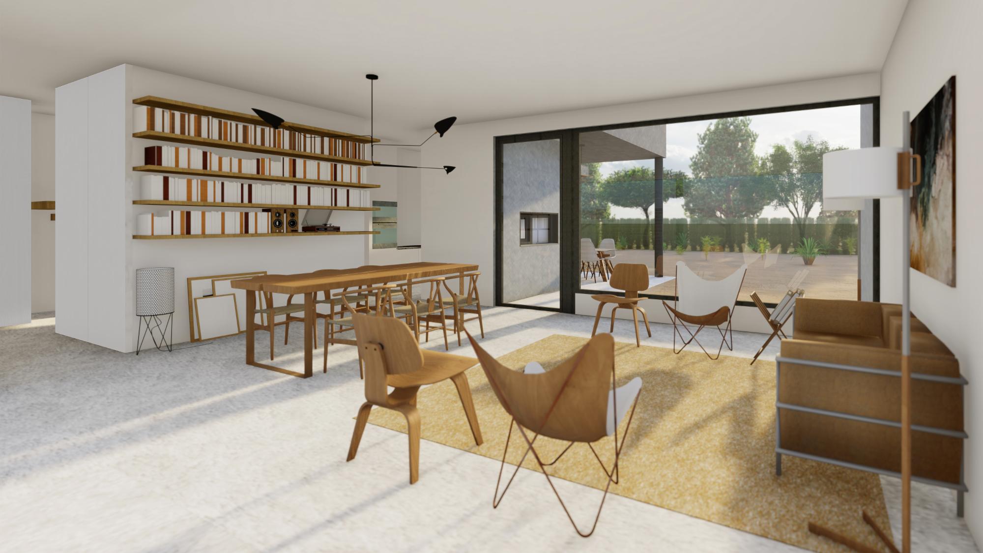 salón interior con vistas a la terraza delantera y trasera de vivienda unifamiliar de nueva construcción en Lleida