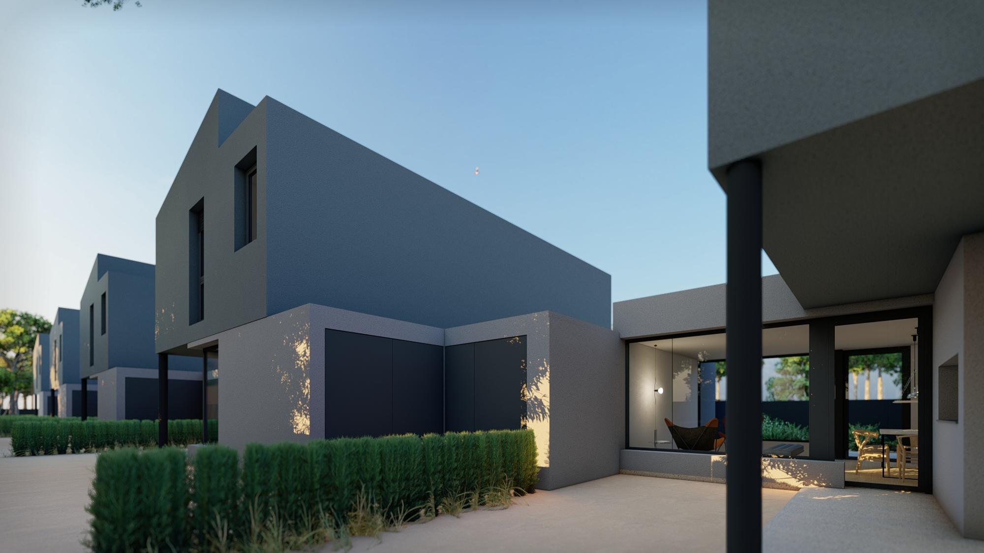 parte trasera y terraza de una de las viviendas unifamiliares de próxima construcción en la zona de agrónomos de Lleida